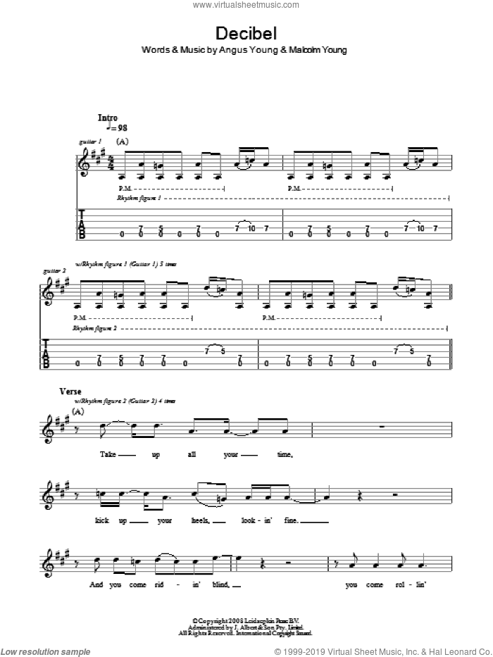 Decibel sheet music for guitar solo (tablature) by Angus Young