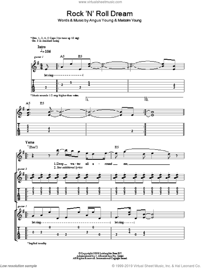 Rock 'N' Roll Dream sheet music for guitar (tablature) by Angus Young, AC/DC and Malcolm Young