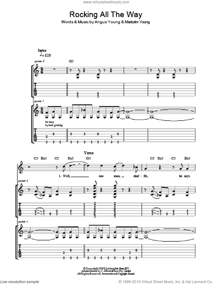 Rocking All The Way sheet music for guitar (tablature) by Angus Young, AC/DC and Malcolm Young. Score Image Preview.