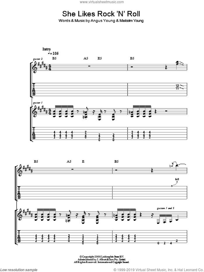 She Likes Rock 'N' Roll sheet music for guitar (tablature) by Angus Young, AC/DC and Malcolm Young. Score Image Preview.