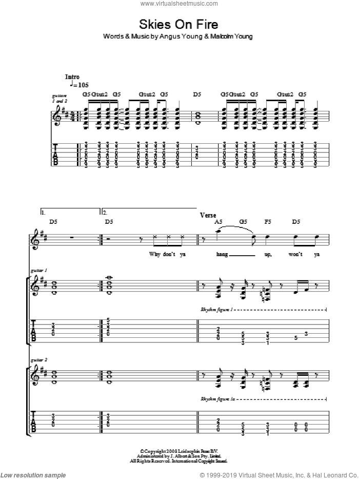 Skies On Fire sheet music for guitar (tablature) by Angus Young, AC/DC and Malcolm Young. Score Image Preview.