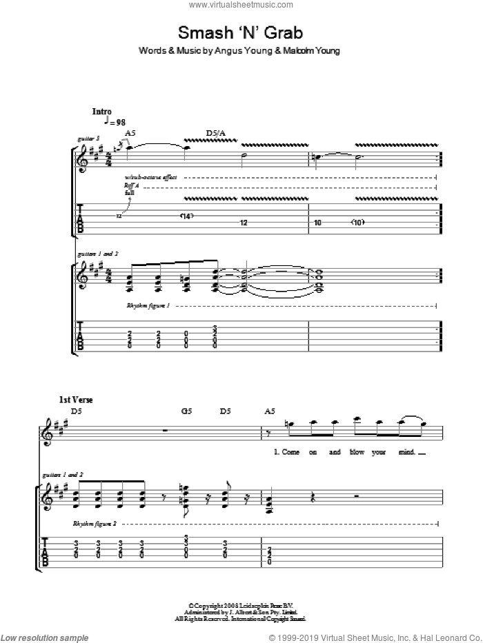 Smash 'N' Grab sheet music for guitar (tablature) by Angus Young, AC/DC and Malcolm Young. Score Image Preview.