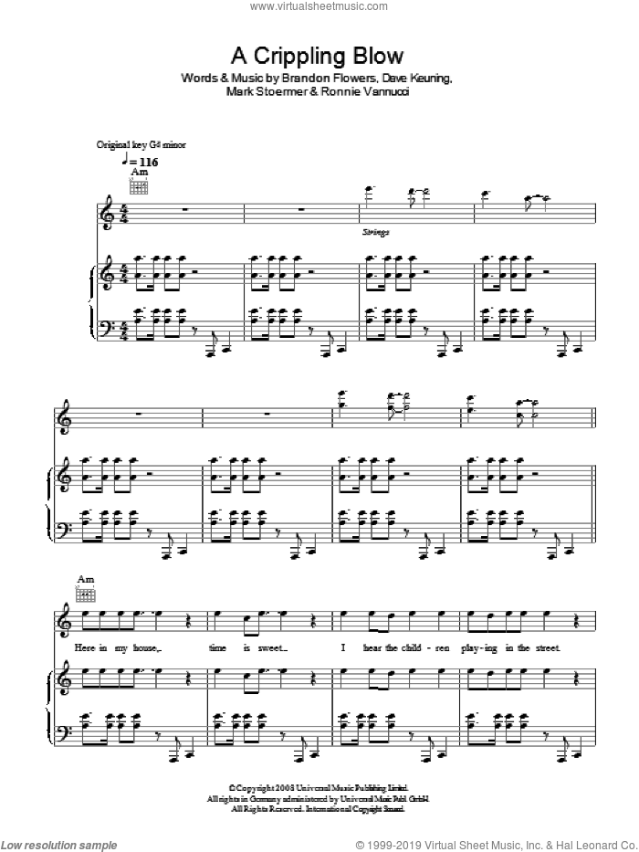 A Crippling Blow sheet music for voice, piano or guitar by The Killers, Brandon Flowers, Dave Keuning, Mark Stoermer and Ronnie Vannucci, intermediate