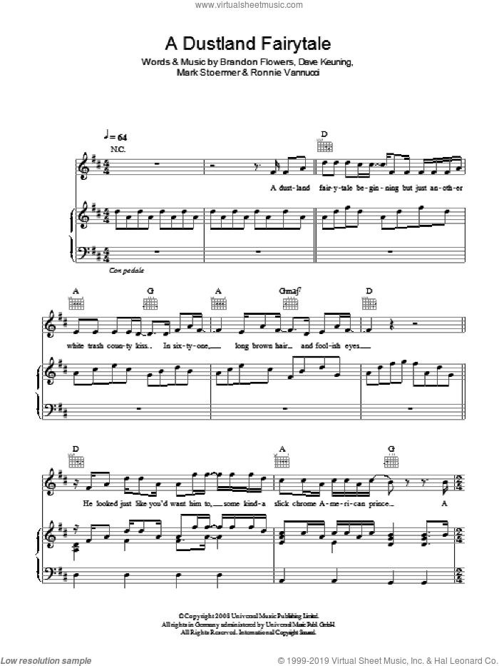 A Dustland Fairytale sheet music for voice, piano or guitar by The Killers, Brandon Flowers, Dave Keuning, Mark Stoermer and Ronnie Vannucci, intermediate skill level