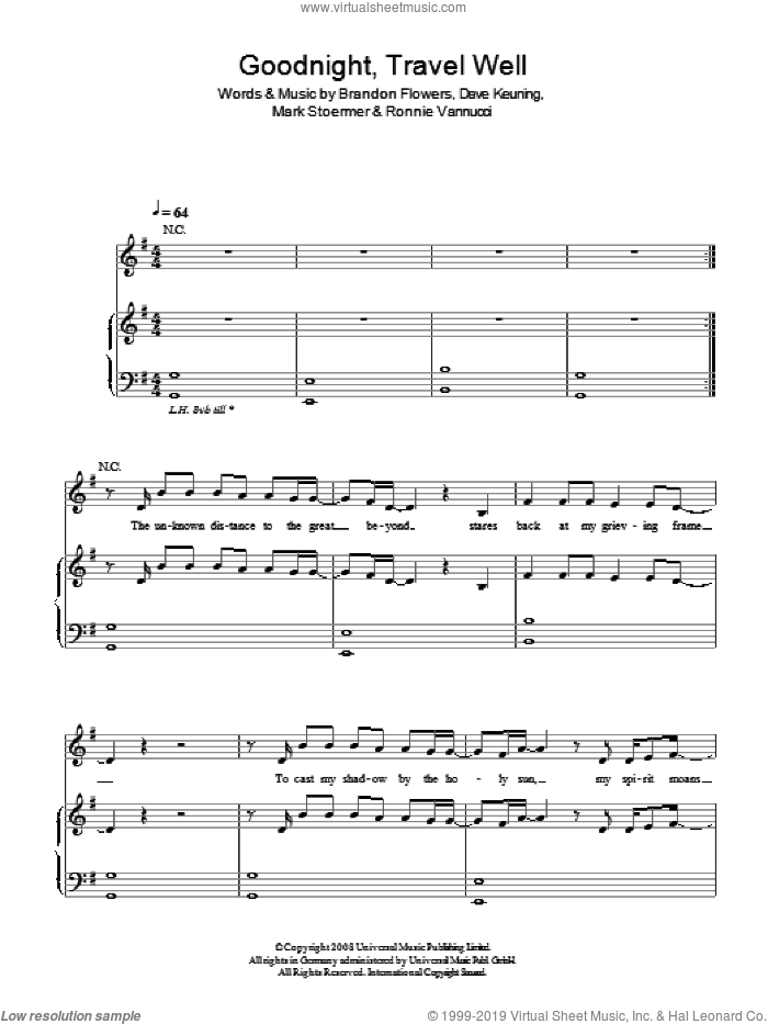 Goodnight Travel Well sheet music for voice, piano or guitar by The Killers, Brandon Flowers, Dave Keuning, Mark Stoermer and Ronnie Vannucci, intermediate. Score Image Preview.