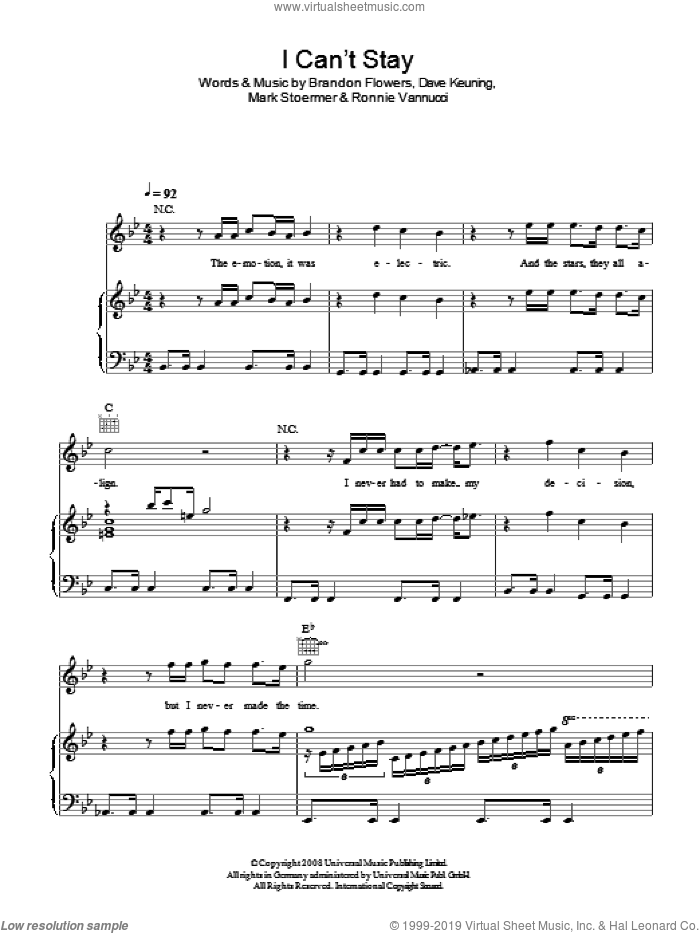 I Can't Stay sheet music for voice, piano or guitar by The Killers and Brandon Flowers, intermediate voice, piano or guitar. Score Image Preview.