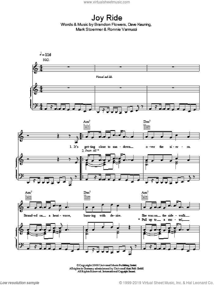 Joy Ride sheet music for voice, piano or guitar by Brandon Flowers, The Killers, Dave Keuning, Mark Stoermer and Ronnie Vannucci. Score Image Preview.