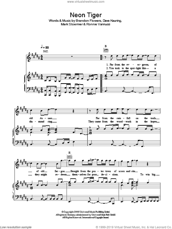 Neon Tiger sheet music for voice, piano or guitar by The Killers and Brandon Flowers, intermediate voice, piano or guitar. Score Image Preview.