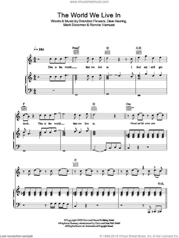 The World We Live In sheet music for voice, piano or guitar by The Killers, Brandon Flowers, Dave Keuning, Mark Stoermer and Ronnie Vannucci, intermediate skill level
