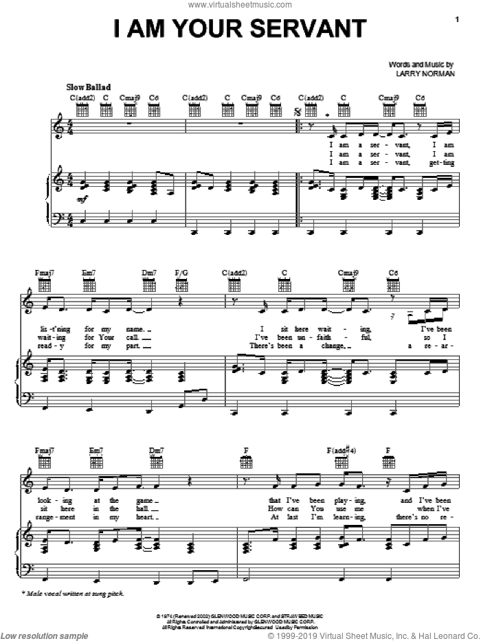 I Am Your Servant sheet music for voice, piano or guitar by Larry Norman, intermediate skill level