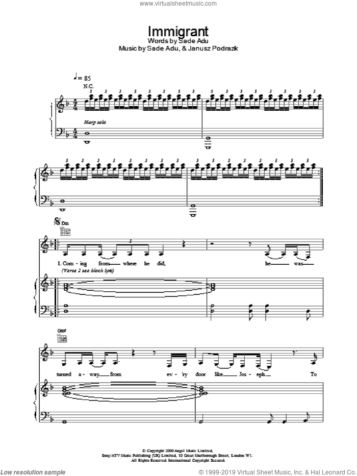 Immigrant sheet music for voice, piano or guitar by Sade, intermediate. Score Image Preview.