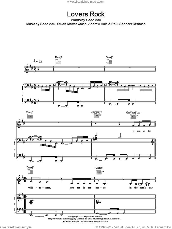 Lovers Rock sheet music for voice, piano or guitar by Sade. Score Image Preview.