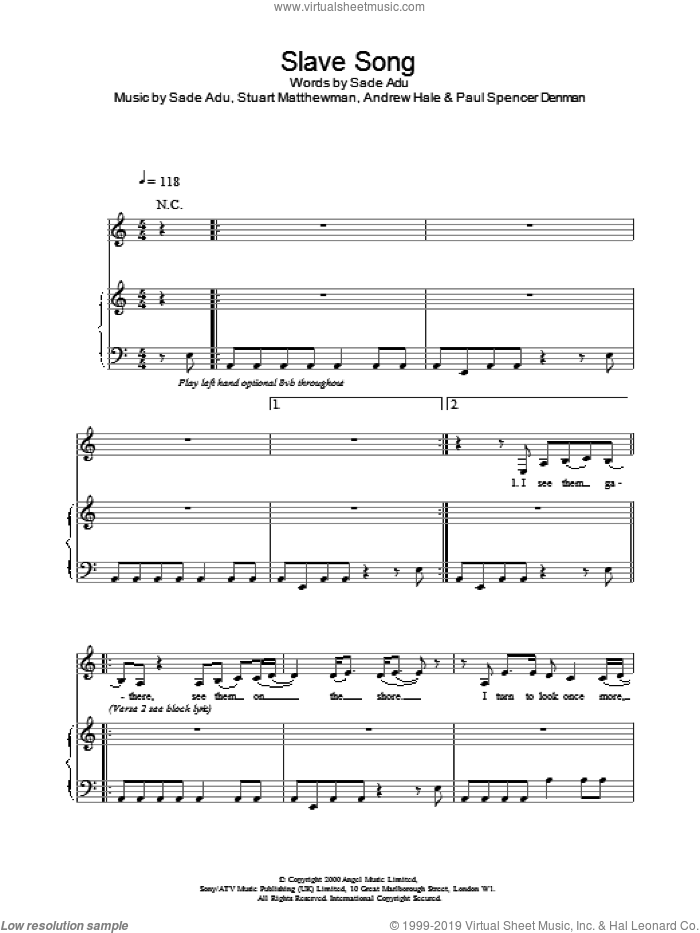 Slave Song sheet music for voice, piano or guitar by Sade, intermediate skill level
