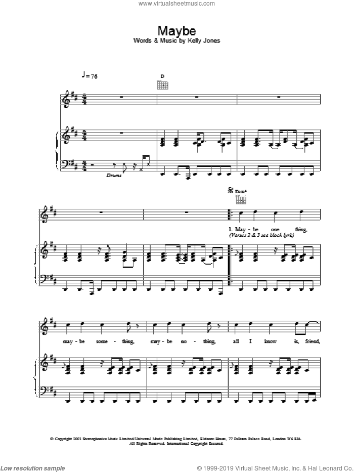 Maybe sheet music for voice, piano or guitar by Stereophonics. Score Image Preview.