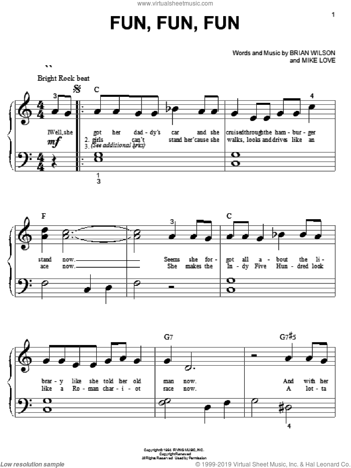 Fun, Fun, Fun sheet music for piano solo (big note book) by The Beach Boys, Brian Wilson and Mike Love, easy piano (big note book). Score Image Preview.