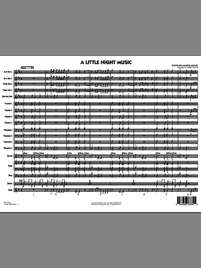 A Little Night Music sheet music for jazz band (full score) by Wolfgang Amadeus Mozart