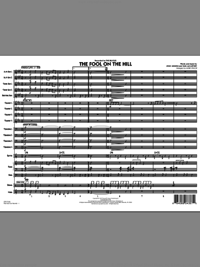 The Fool on the Hill (Flugelhorn Feature) (COMPLETE) sheet music for jazz band by John Lennon, Paul McCartney, Mark Taylor and The Beatles, intermediate jazz band. Score Image Preview.