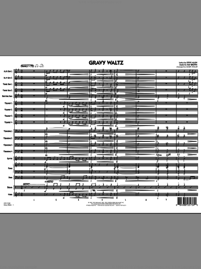 Gravy Waltz (COMPLETE) sheet music for jazz band by Ray Brown, Steve Allen and Mark Taylor, intermediate skill level
