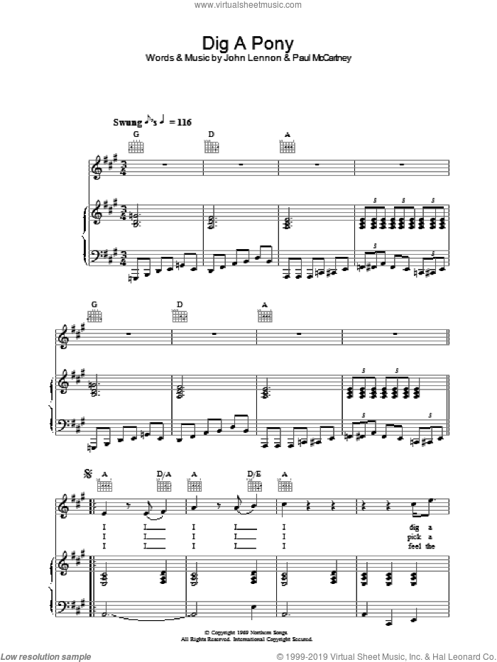 Dig A Pony sheet music for voice, piano or guitar by The Beatles, John Lennon and Paul McCartney. Score Image Preview.