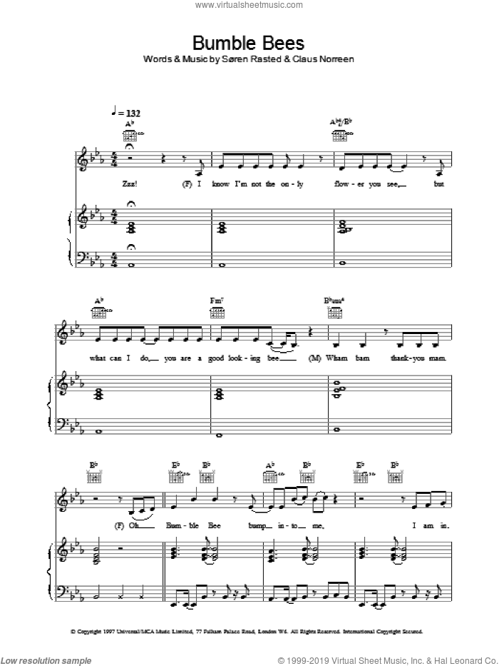 Bumble Bees sheet music for voice, piano or guitar by Aqua