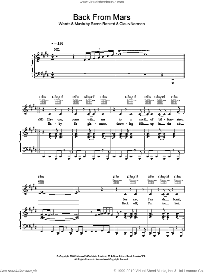 Back From Mars sheet music for voice, piano or guitar by Aqua, intermediate. Score Image Preview.
