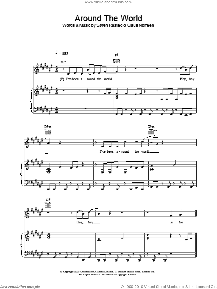 Around The World sheet music for voice, piano or guitar by Aqua, intermediate skill level