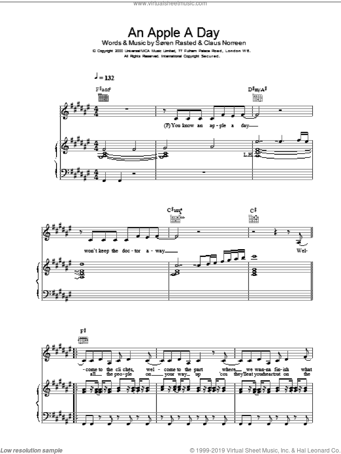 An Apple A Day sheet music for voice, piano or guitar by Aqua