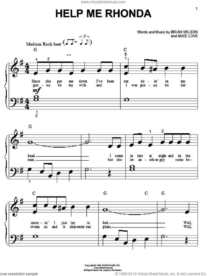 Help Me Rhonda sheet music for piano solo (big note book) by The Beach Boys, Brian Wilson and Mike Love, easy piano (big note book). Score Image Preview.