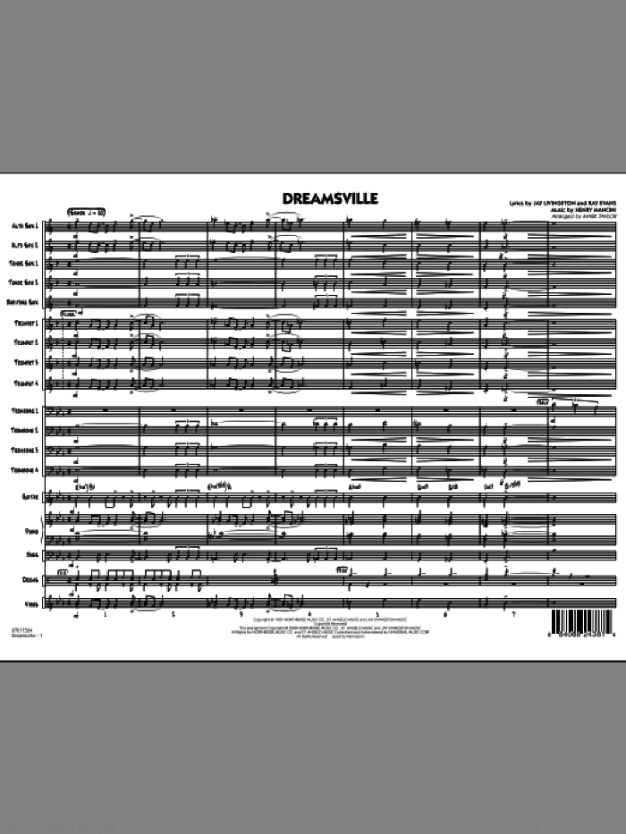 Dreamsville, complete collection (COMPLETE) sheet music for jazz band by Henry Mancini, Ray Evans, Ray Livingston and Mark Taylor, intermediate skill level