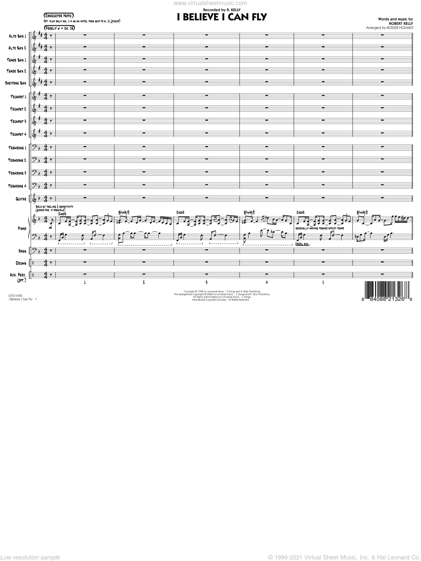 I Believe I Can Fly sheet music for jazz band (full score) by Roger Holmes