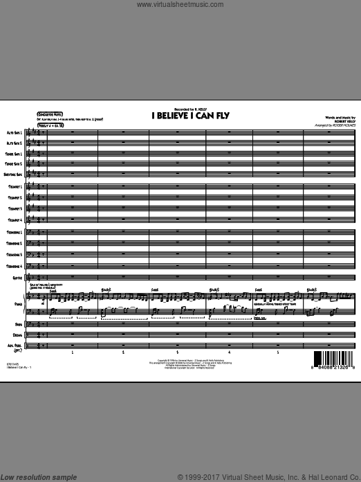 I Believe I Can Fly (COMPLETE) sheet music for jazz band by Roger Holmes