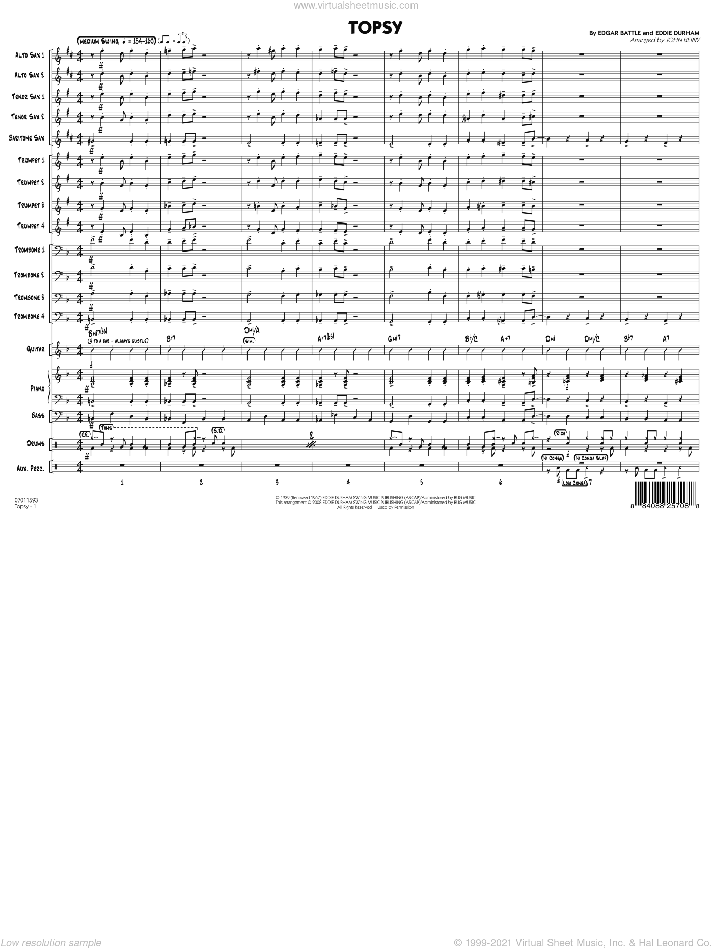 Topsy, complete set of parts sheet music for jazz band (full score) by Eddie Durham