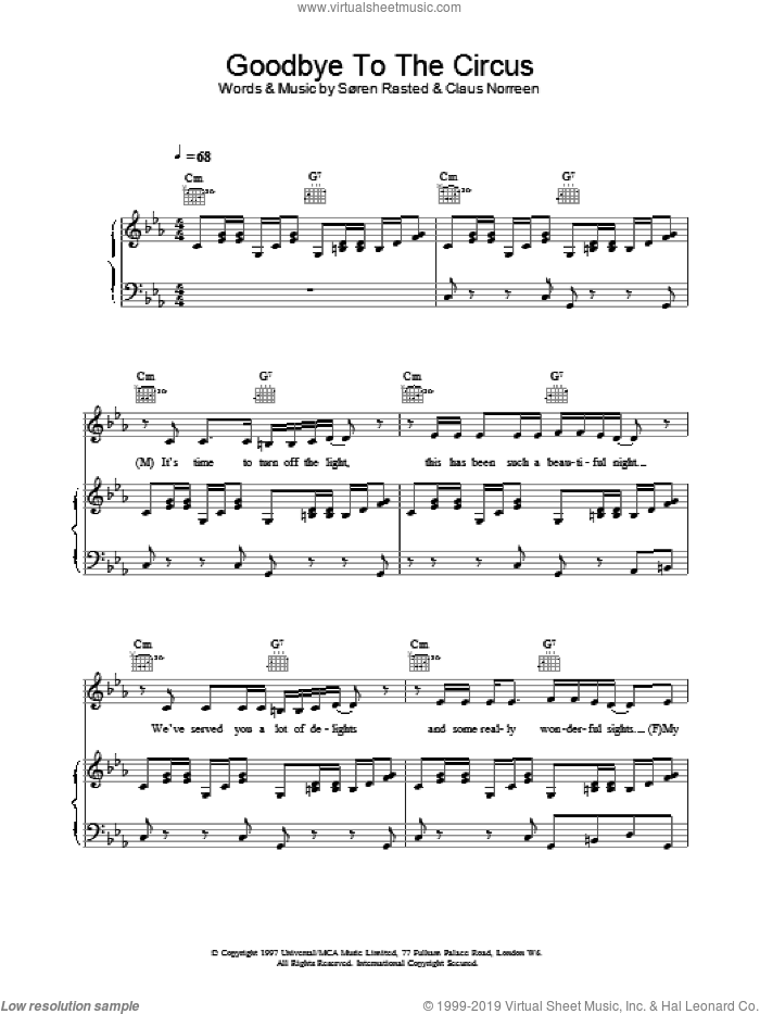 Goodbye To The Circus sheet music for voice, piano or guitar by Aqua, intermediate skill level