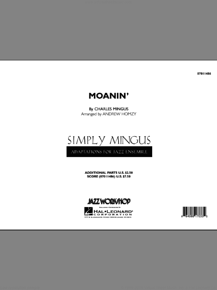Moanin' (COMPLETE) sheet music for jazz band by Charles Mingus and Andrew Homzy, intermediate skill level