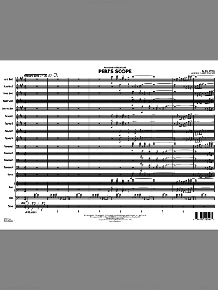 Peri's Scope (COMPLETE) sheet music for jazz band by Bill Evans and Mike Tomaro, intermediate skill level