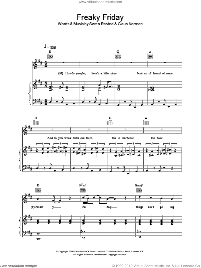 Freaky Friday sheet music for voice, piano or guitar by Aqua, intermediate skill level