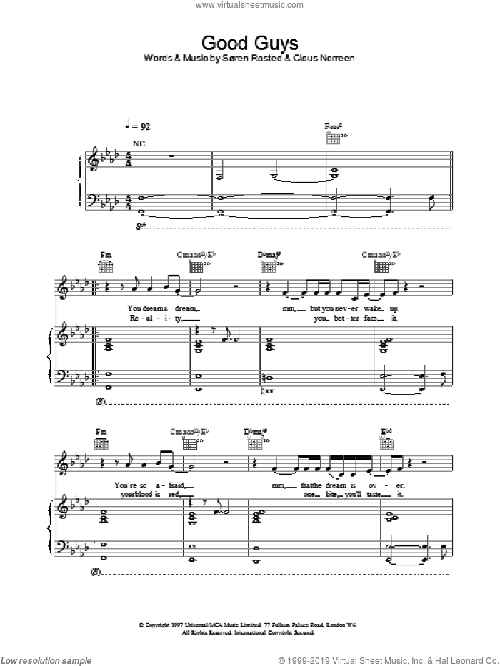 Good Guys sheet music for voice, piano or guitar by Aqua, intermediate skill level