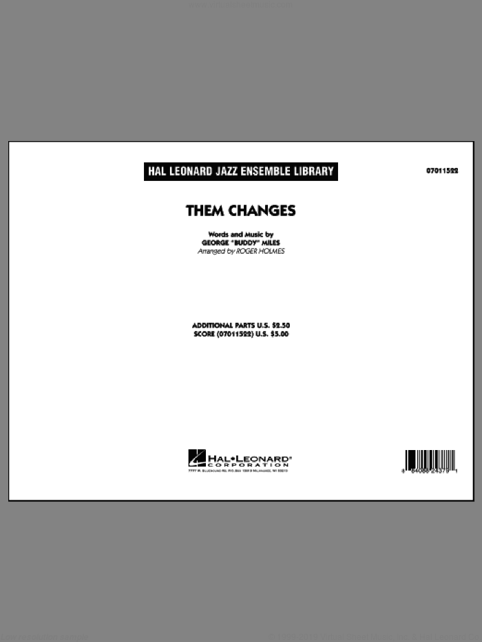 Them Changes (COMPLETE) sheet music for jazz band by Roger Holmes and Buddy Miles, intermediate skill level