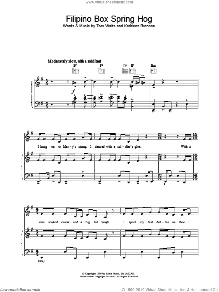 Filipino Box Spring Hog sheet music for voice, piano or guitar by Tom Waits. Score Image Preview.