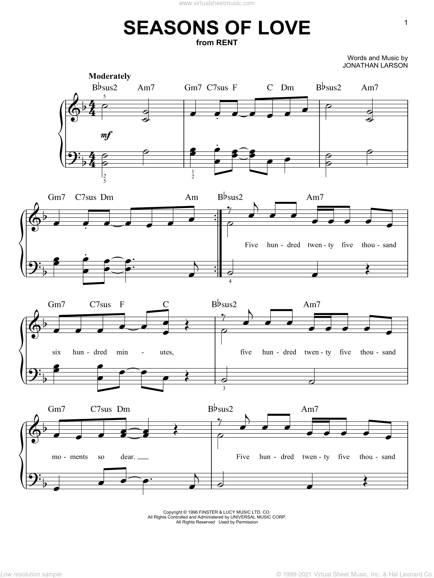 Seasons Of Love sheet music for piano solo by Jonathan Larson. Score Image Preview.