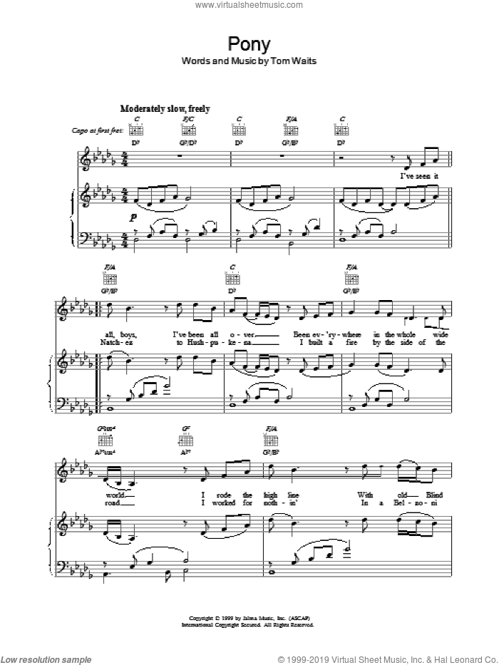 Pony sheet music for voice, piano or guitar by Tom Waits. Score Image Preview.