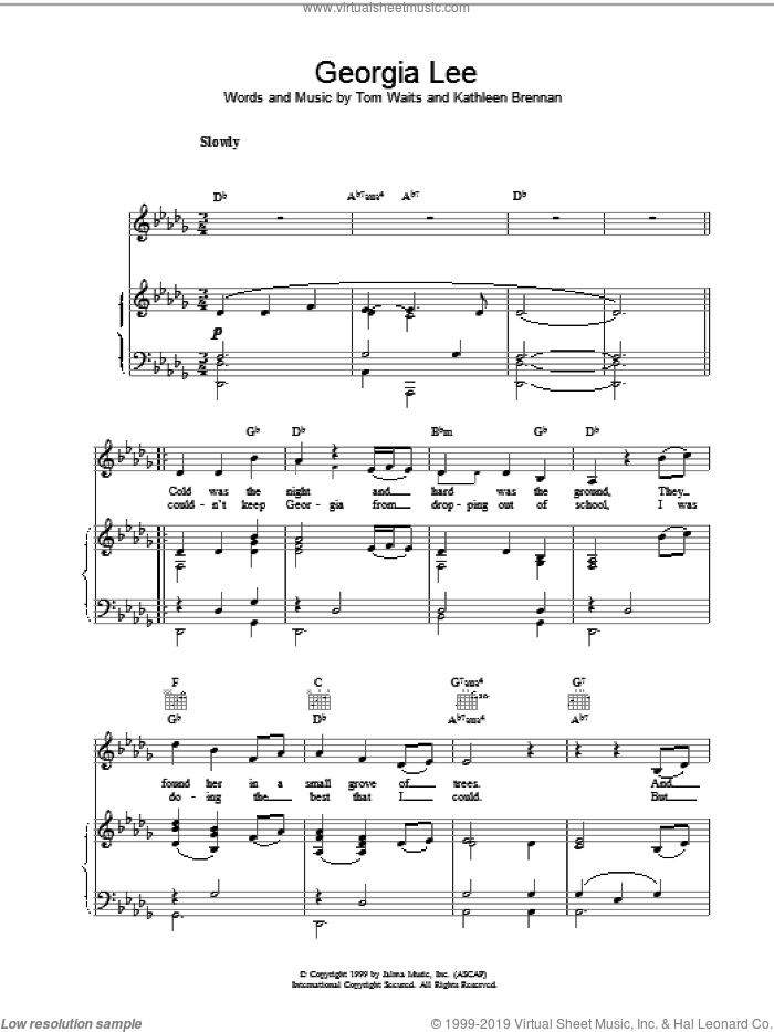 Georgia Lee sheet music for voice, piano or guitar by Tom Waits, intermediate skill level