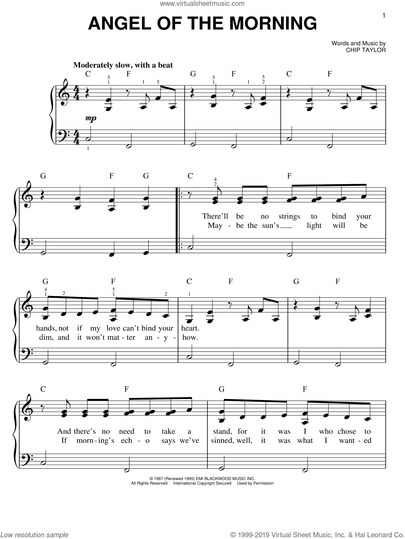 Angel Of The Morning sheet music for piano solo by Chip Taylor and Juice Newton. Score Image Preview.