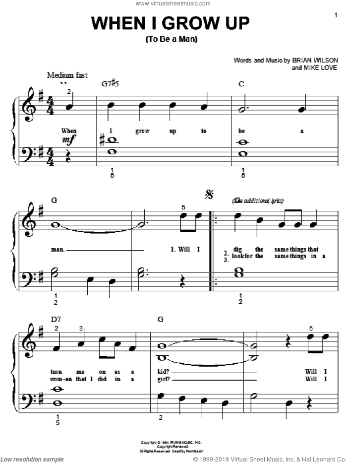 When I Grow Up (To Be A Man) sheet music for piano solo (big note book) by The Beach Boys, Brian Wilson and Mike Love, easy piano (big note book)