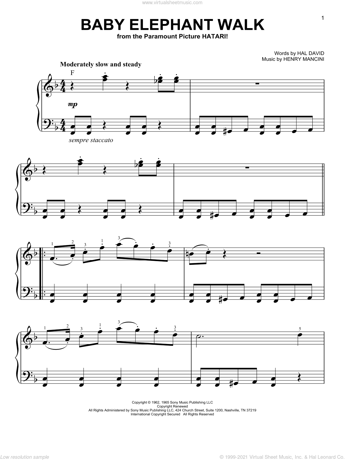 Baby Elephant Walk sheet music for piano solo by Henry Mancini and Hal David, easy skill level