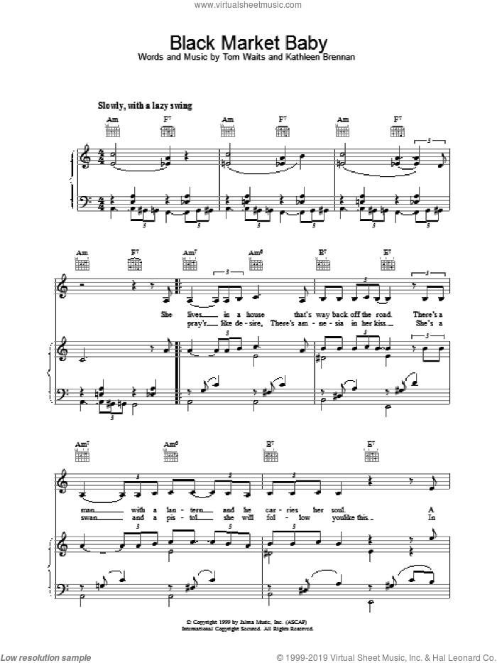 Black Market Baby sheet music for voice, piano or guitar by Tom Waits. Score Image Preview.