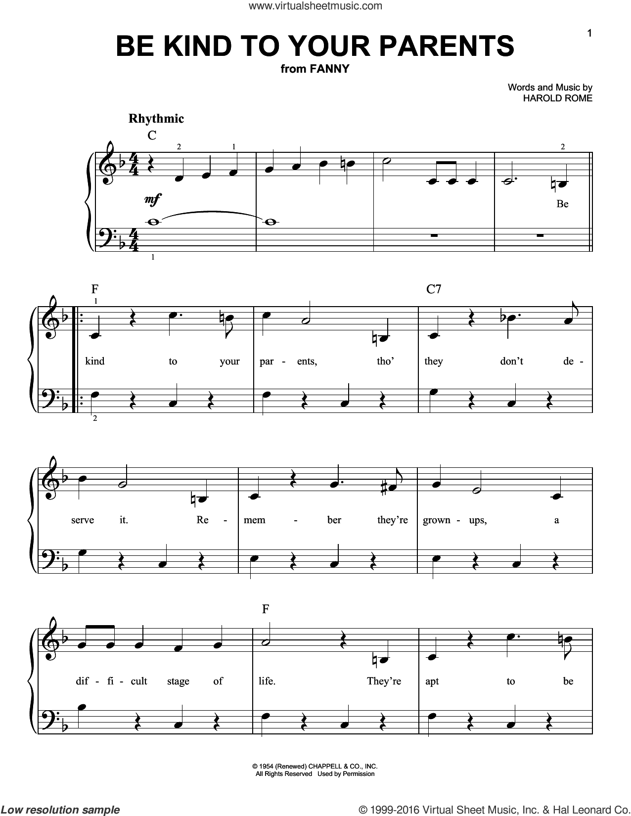 Be Kind To Your Parents sheet music for piano solo by Harold Rome, easy skill level