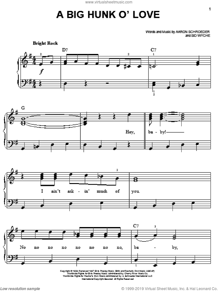 A Big Hunk O' Love sheet music for piano solo by Elvis Presley, Aaron Schroeder and Sid Wyche, easy skill level