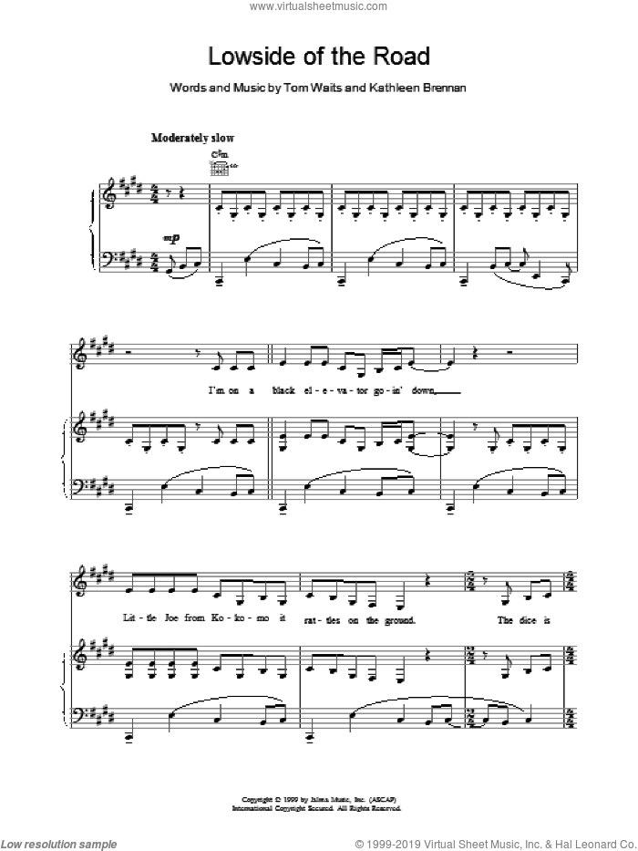 Lowside of the Road sheet music for voice, piano or guitar by Tom Waits. Score Image Preview.
