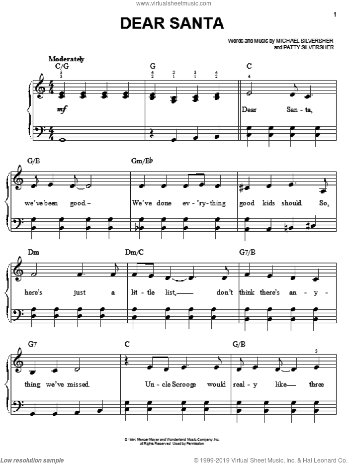 Dear Santa sheet music for piano solo by Patty Silversher and Michael Silversher